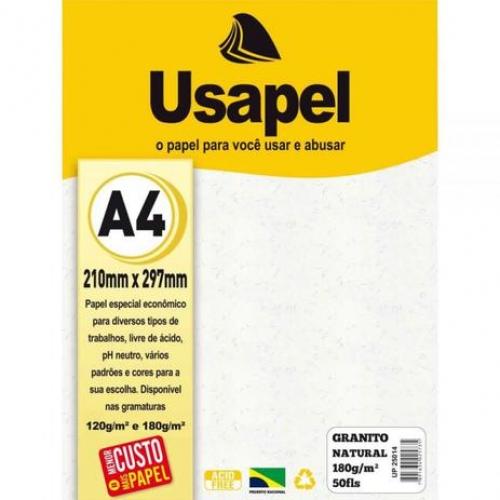 PAPEL TEXT A4 180G GRANITO NATURAL 50FLS USAPEL