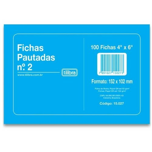 FICHA PAUTADA N2 4X6 100FLS TILIBRA