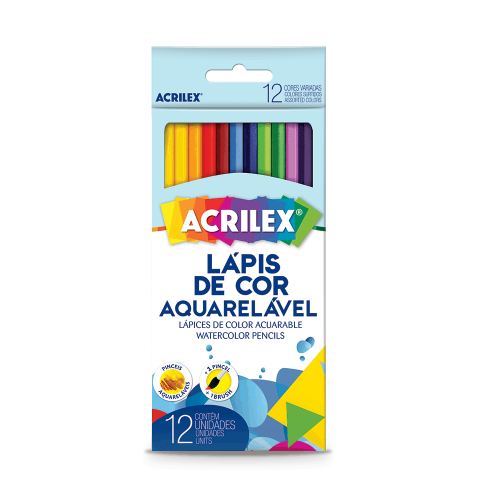 LAPIS DE COR ACRILEX 12 CORES AQUARELAVEL