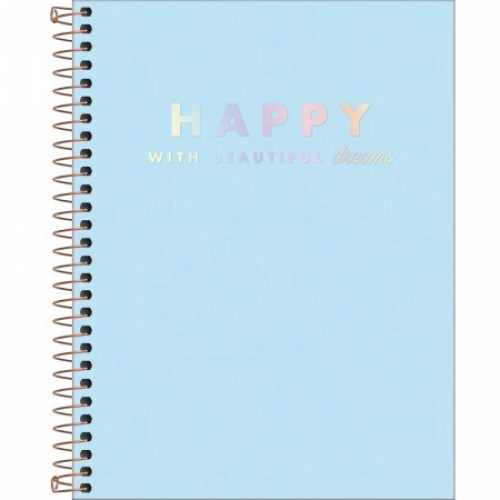CADERNO COLEGIAL 01M CD TILIBRA HAPPY AZUL