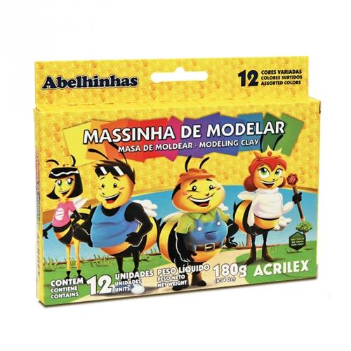 MASSA DE MODELAR BASE DE CERA ACRILEX 12 CORES 180G