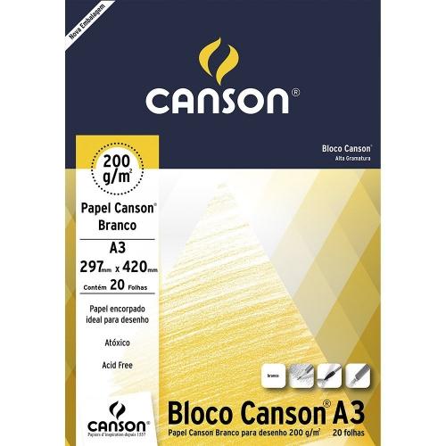 PAPEL DESENHO BRANCO A3 200G 20FLS CANSON