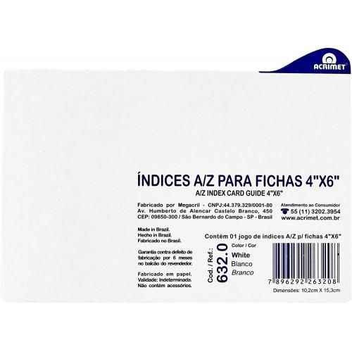 INDICE PARA FICHAS 4X6 ACRIMET