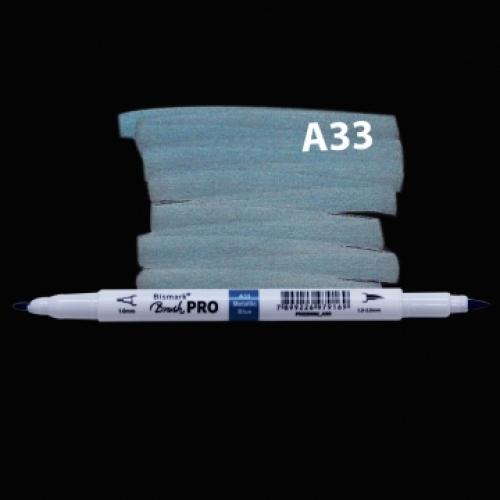 MARCADOR PERMANENTE BISMARK DUAL BRUSH METALICA BLUE A33
